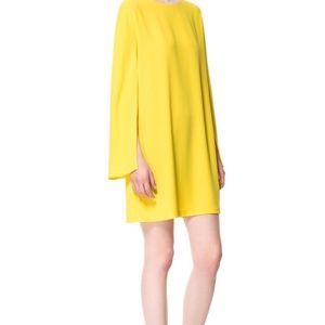 ZARA Yellow Mini Dress with Cape Sleeves, Sz M